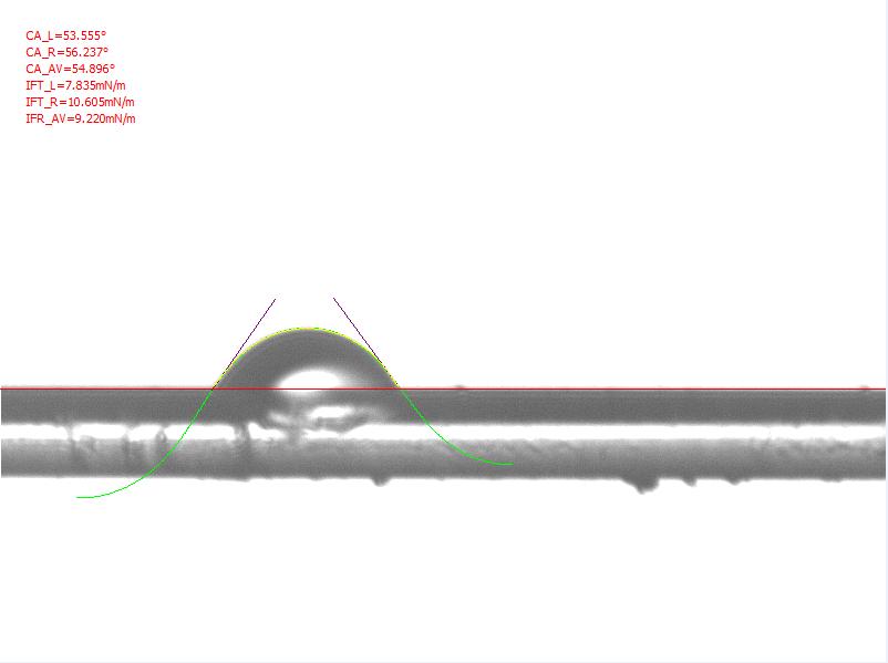 纤维接触角测量计算方法MicroDrop