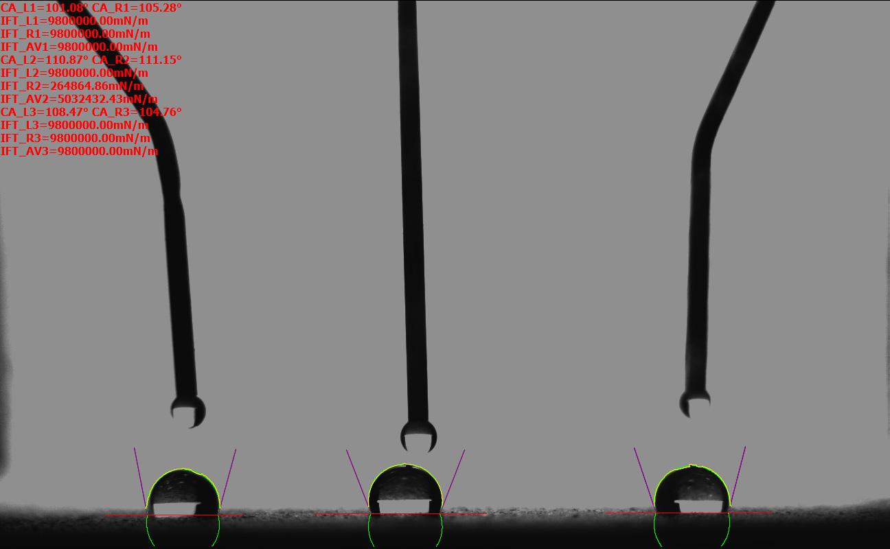 三液滴接触角测量仪图谱