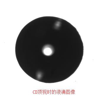 CD頂視時的接觸角液滴圖像