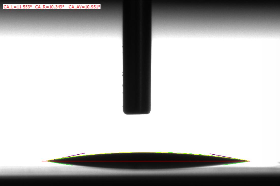 芯片晶圆水滴角测值图谱